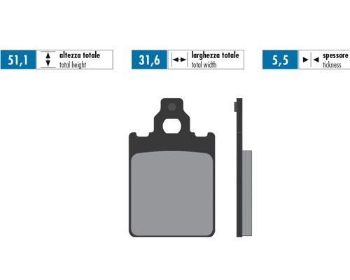 Polini Brake pads front original Vespa PX 150/Sprint & PX 125/PE&PX 200