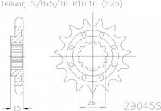 SPROCKET FRONT 17T LIGHT 525